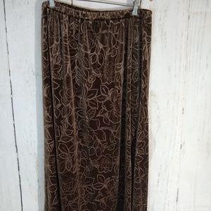 Brown Velour floral print skirt Long Modest